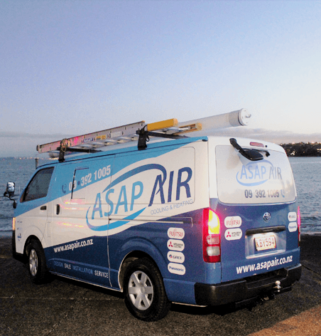 ASAP AIR office vehicle parked on the waterfront