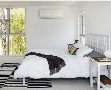 Light Bedroom with heat pump