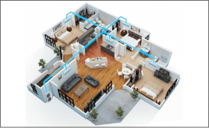 Image of how Multihead system works in the house