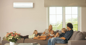 Family using heat pump in the living area