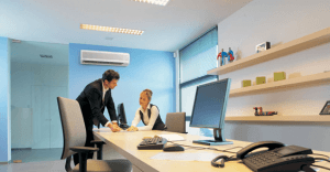 Heat pump and Two office professionals