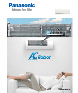 Woman resting on sofa near wall mounted Panasonic air conditioner