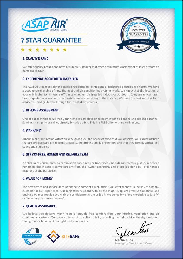ASAP AIR 7 star guarantee poster